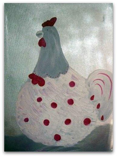 La petite poule sur chassis toile de coton